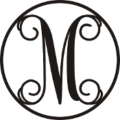 Monogram Letters Metal CR M